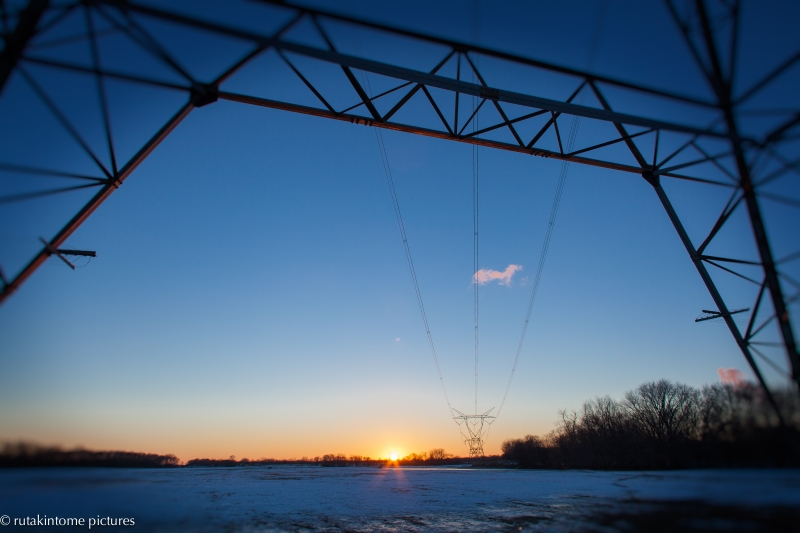 sunset and wires